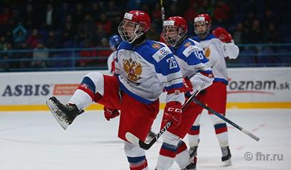 Юношеская сборная Российской Федерации  похоккею одолела  чехов ивышла вчетвертьфиналЧМ