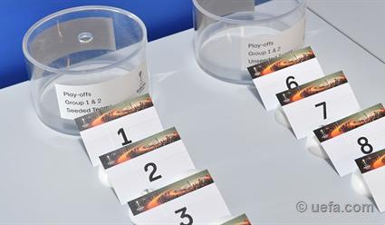 Церемония жеребьевки раунда плей-офф футбольной Лиги Европы
